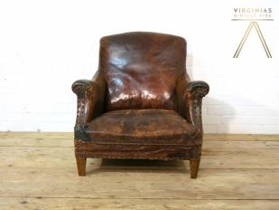 Distressed Leather Arm Chair For Hire London