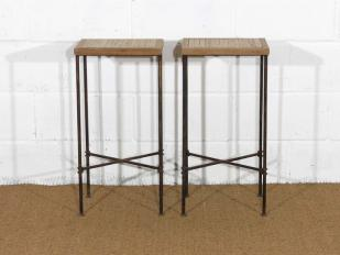 Distressed Metal Legged Stool for Hire