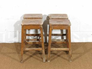 Vintage Wooden Laboratory Stools for Hire