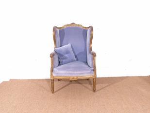 Blue Velvet Wingback Chair for Hire