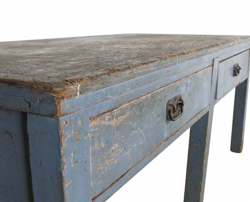 Vintage Distressed Blue Table for Hire London