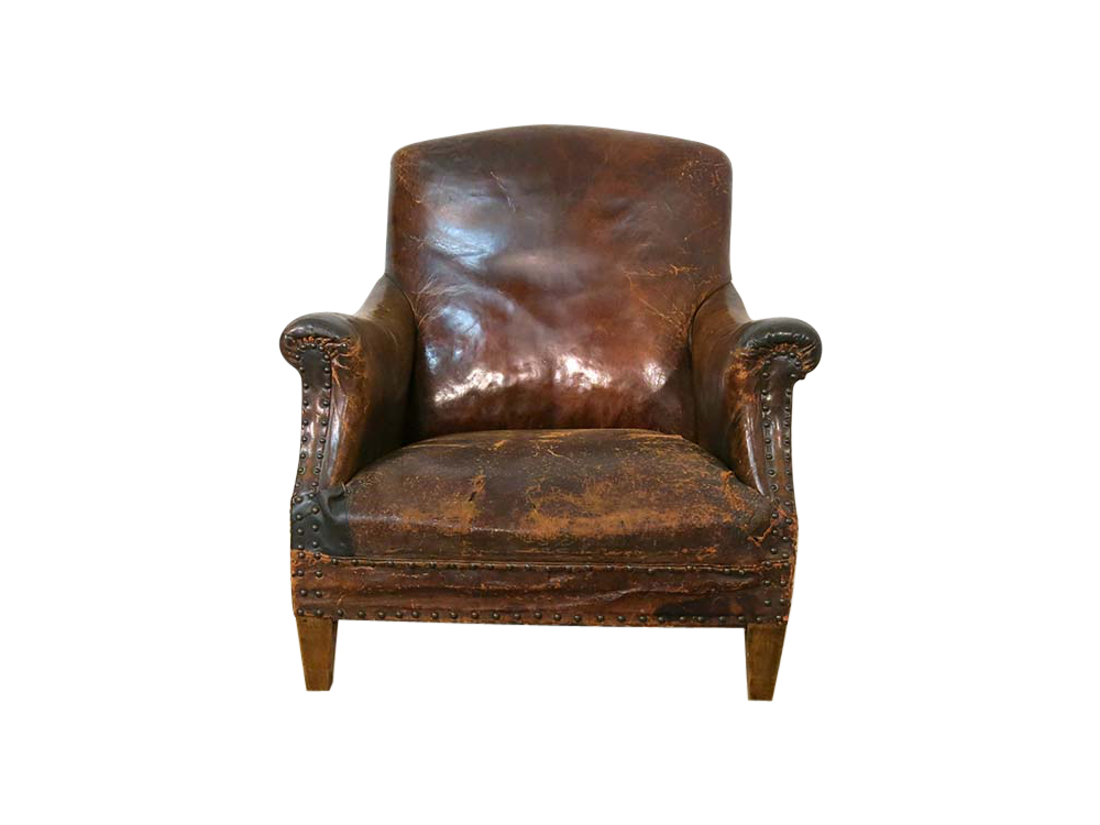 Distressed Leather Arm Chair For Hire Devon