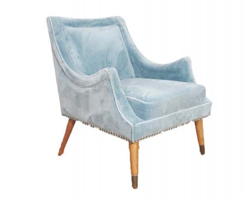Blue velvet accent chair for Hire Edinburgh, Scotland