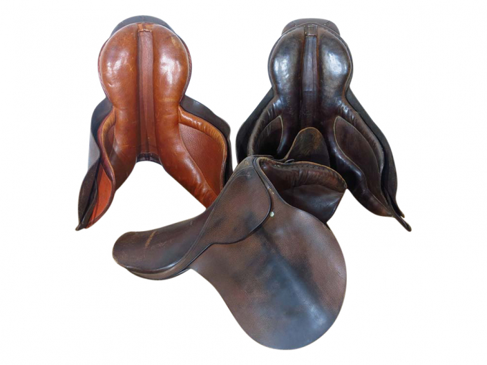 Old Worn Leather Saddles for Hire