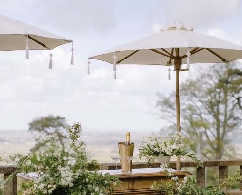 White Linen Parasol for Hire