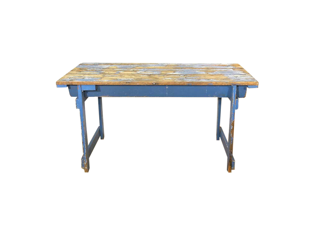 Vintage Distressed Blue Table for Hire