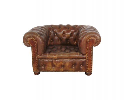 Brown Chesterfield Arm Chairs for Hire
