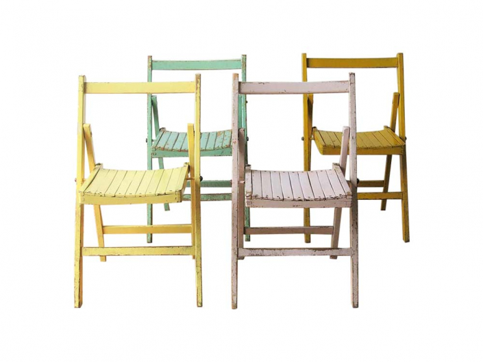 Colourful Vintage Folding Chairs for Hire Scotland