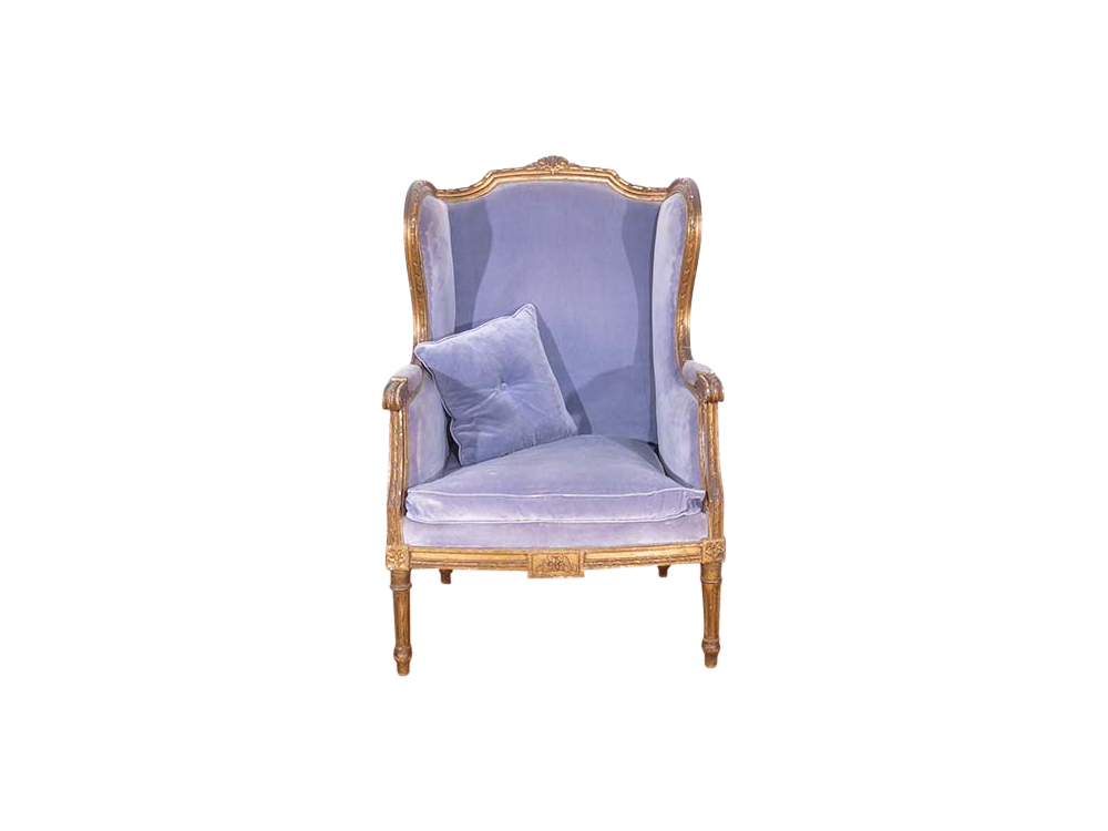 Blue Velvet Wingback Chair for Hire