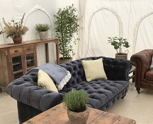 Blue Velvet 3 Seater Chesterfield sofa for Hire