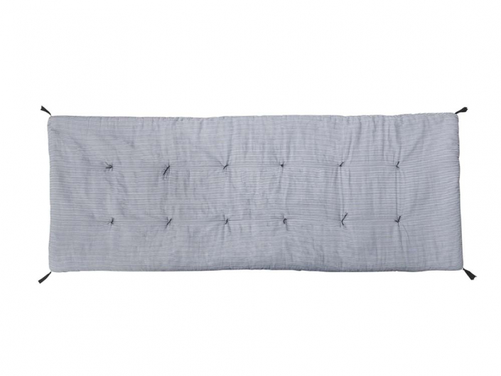 Long blue and navy stripe cushion for Hire
