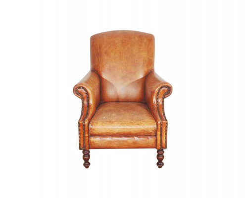 Distressed Leather Armchair for Hire, London
