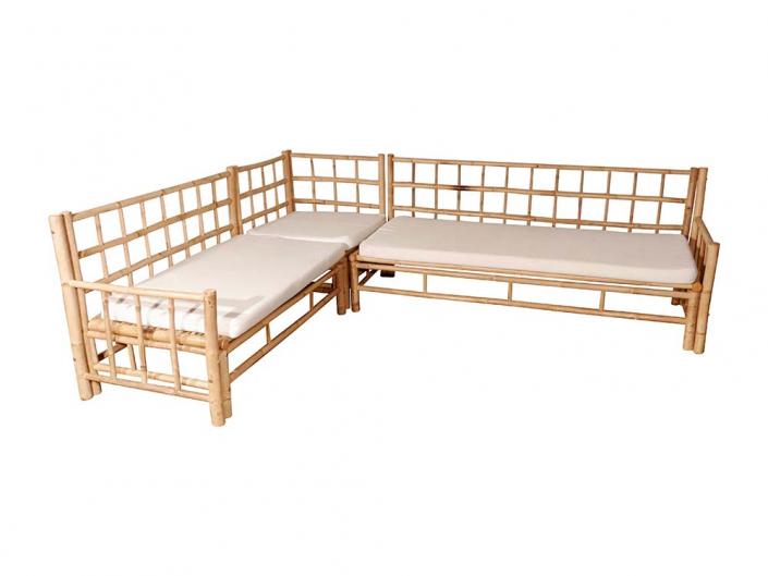 L-shaped bamboo sofa sofa for Hire