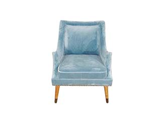 Blue velvet accent chair for Hire Edinburgh, Scotland