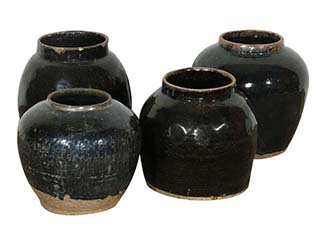 Round Antique Glazed Jars