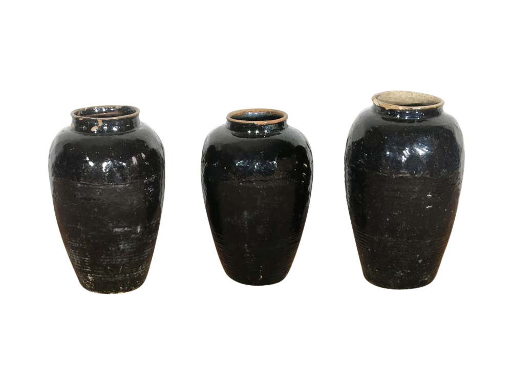 Tall Antique Glazed Pots