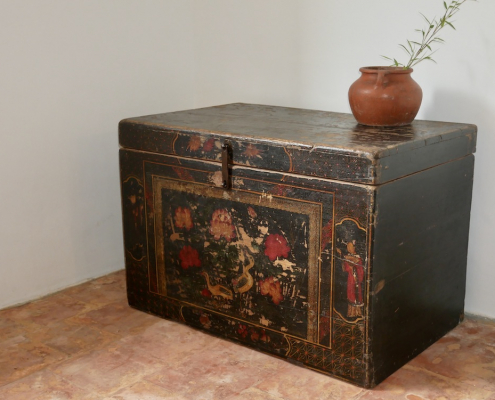 Chinese Antique Black Lacquered Blanket Chest