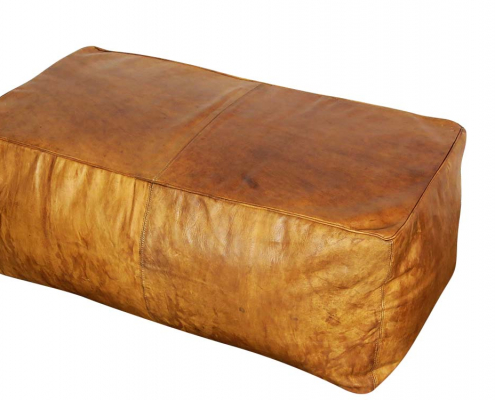Vintage Leather Floor Poufs for Hire Scotland