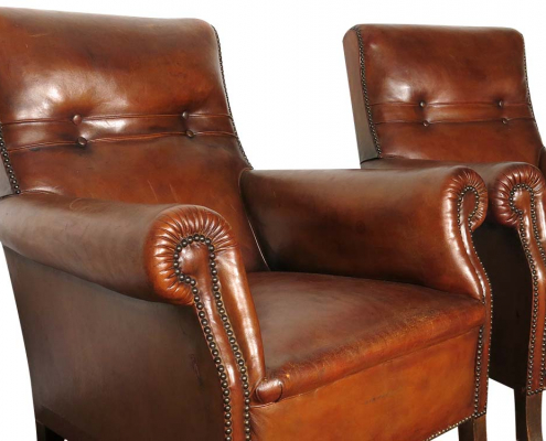 French Leather Armchairs for Hire