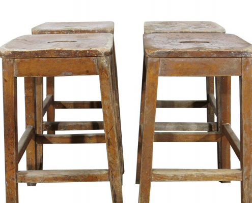 Vintage Wooden Laboratory Stools for Hire London, South East