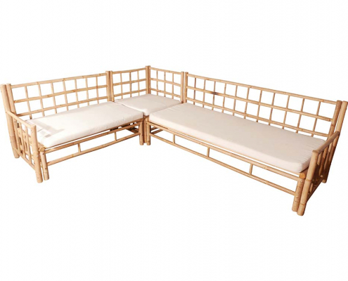 L-shaped bamboo sofa sofa for Hire