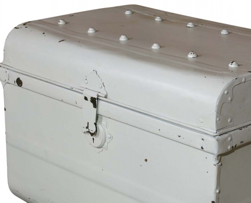Vintage White Metal Trunk for Hire
