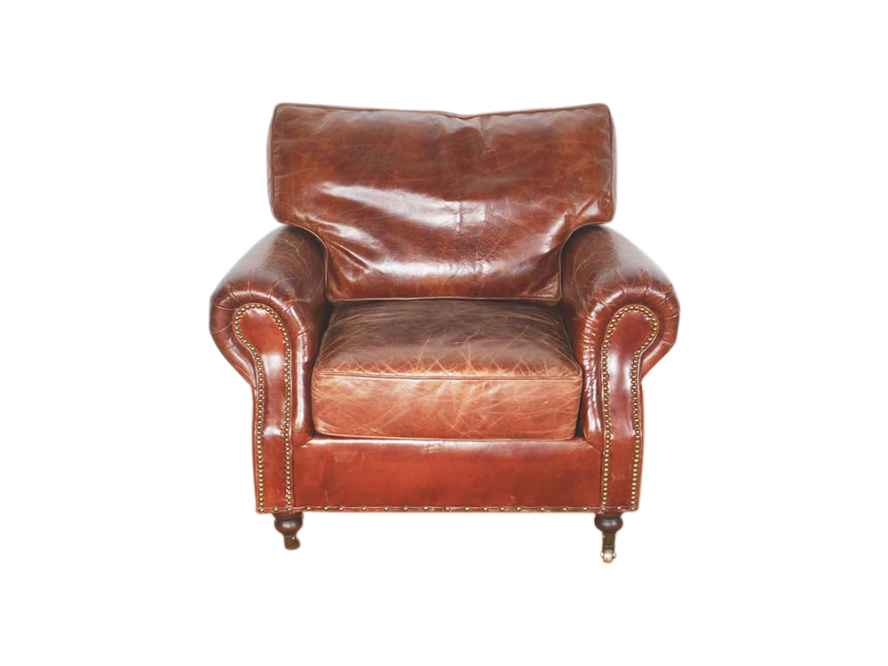 Brown Leather Armchair for Hire