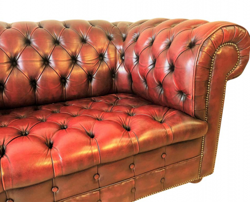 Vintage Leather Oxblood Sofa for Hire Scotland