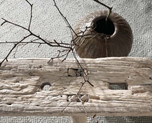 Rustic White Elm Bench