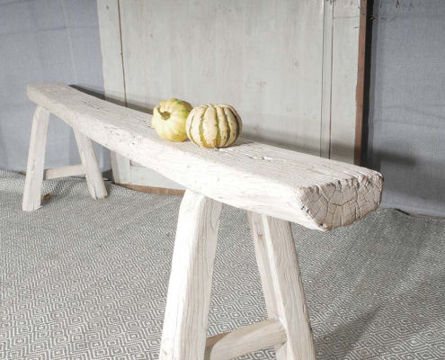 Rustic White Elm Bench